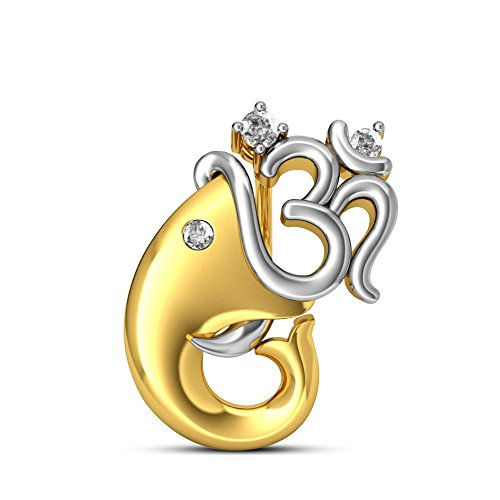 atjewels Maha Shivaratri Special 14k Two Tone Gold Over .925 Sterling Silver White Diamond Lord Om Ganpati Pendant