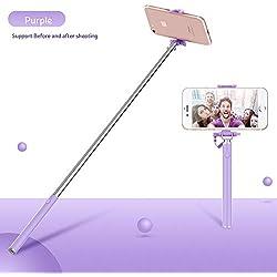 KEZIO Mini Selfie Stick, Cellulare Selfie Sticks Estensibile Mini all in One Wire Selfie Stick per Cellulare (Colore : Purple)