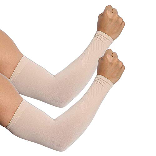 Amazing Bazaar Men's Women's Cotton Dust/Pollution and Elbow 99% UV-Protection, Arm Sleeves (Skin Color, Free Size)