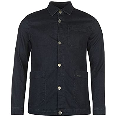Firetrap Mens Denim Jacket Dark Pockets Button Front Collar Neck Top Coat