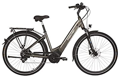 "Fischer E-Bike City CITA 6.0i (2019), platingrau matt, 28"", RH 44 cm, Brose Mittelmotor 50 Nm, 36 Volt Akku im Rahmen, 504 Wh"