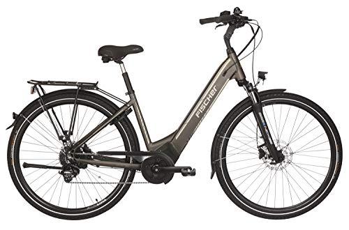 "FISCHER E-Bike City CITA 6.0i (2019), platingrau matt, 28\"", RH 44 cm, Brose Mittelmotor 50 Nm, 36V Akku im Rahmen"