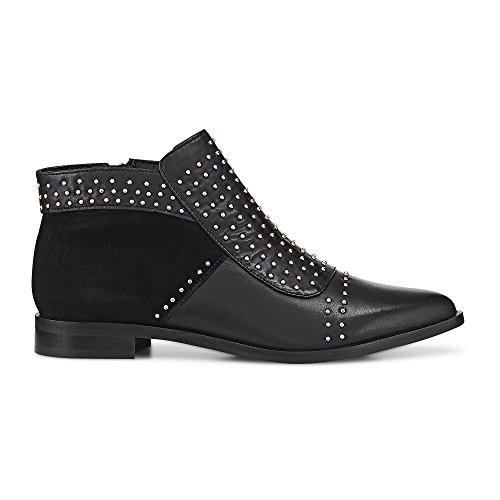 Cox Damen Damen Ankle-Boots aus Leder, Stiefelette in Schwarz mit Nieten und rutschhemmender Sohle Schwarz Leder 39