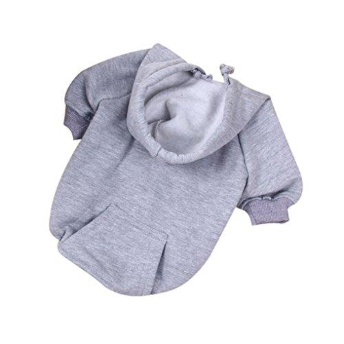 Dickes Haustier Kapuzenpullover, Hmeng Warme Hund Kleidung Welpen Kapuzenpulli Pullover für Herbst Winter (M, Grau) (Bichons In Halloween Kostüme)