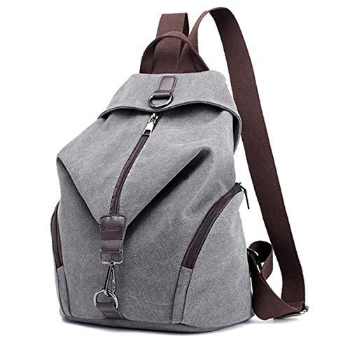 JOSEKO Frauen Leinwand Rucksack, Canvas Tasche Rucksäcke Damen Umhängentasche Große Kapazität Reisetasche Vintage Schultasche für Reise Outdoor Schule(Grau) -