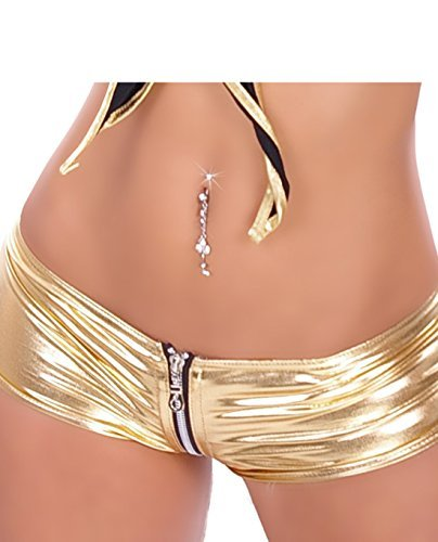 Berry Belle Sexy GoGo Hot Pants - Gold HO5 Katy (One Size (34-40 EU))