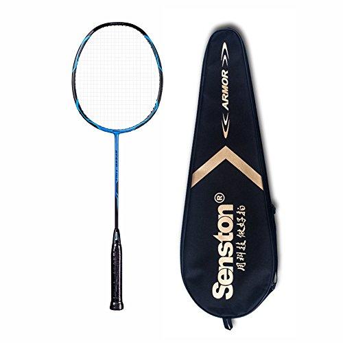 Senston B550 Ultra-Licht Carbon Badmintonschläger 100% Graphit Badminton Schläger mit Schlägertasche - Schwarz / Weiß / Blau