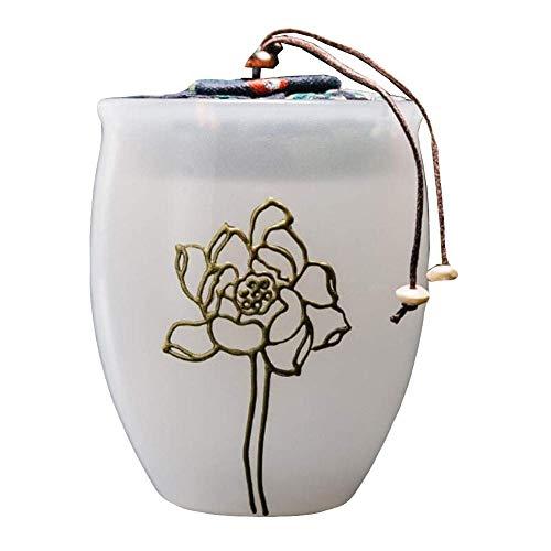 Lcxliga Halle Haustier Urnen Asche Reiseverlauf Sarg Keramik handgefertigte Suet Jade White Porzellan Golden Lotus Sarg Hund Katze Begräbnis -