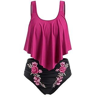 LSAltd Sommer Frauen Sexy Rüschen Einfarbig Push-Up Gepolstertes Top + Stickerei Blume Hohe Taille Bikini Set Badeanzug