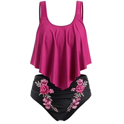 LSAltd Sommer Frauen Sexy Rüschen Einfarbig Push-Up Gepolstertes Top + Stickerei Blume Hohe Taille Bikini Set Badeanzug Fantasy-zip Hoodie