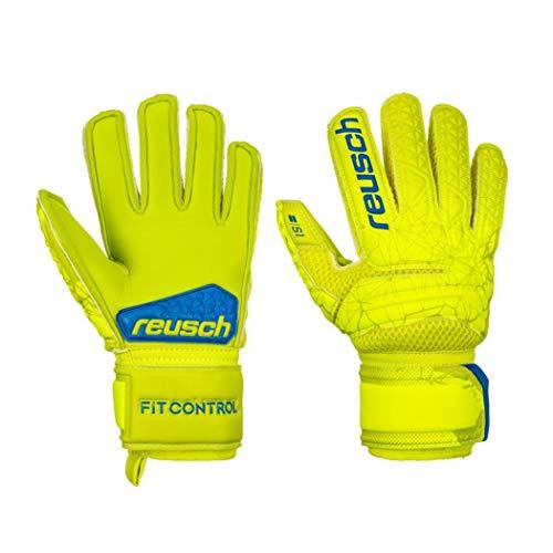 Reusch - Guanti da Portiere per Bambini Fit Control S1, Bambini, 3972215, Lime/Safety Yellow, 6
