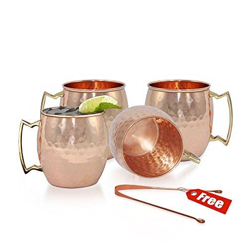Set di 4a mano, puro rame martellato Moscow Mule Mug -16Oz/473ml Moscow Mule Cocktail Cup, rame tazze, tazze Cocktail idea regalo di natale (rame senza Toung