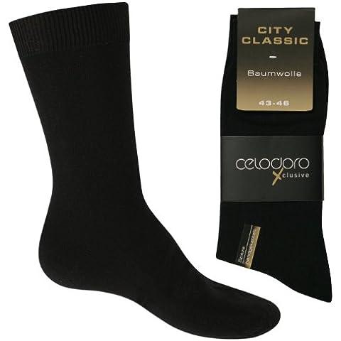 celodoro - 10 pares de calcetines de ejecutivo - Remallados a mano y sin costuras - 100 % algodón - Negro - Tallas de la 39 a la