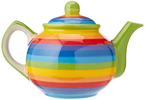 Windhorse Teekanne mit Streifen in Regenbogenfarben, aus Keramik (klein)