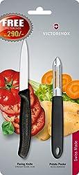 Victorinox Serrated Edge Potato Peeler with Free Knife, 2-Pieces, Black