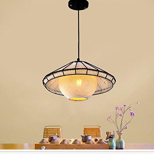 Asiatischer Strohhut (Maniny Garten Rattan Pendelleuchte Creative Teehaus Club Korridor Strohhut Pendelleuchten Minimalistische Villa Hotel Projekt)