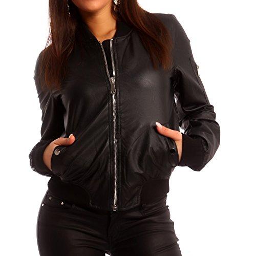 Young-Fashion - Veste de sport - Blouson - Uni - Manches Longues - Femme Noir - Noir