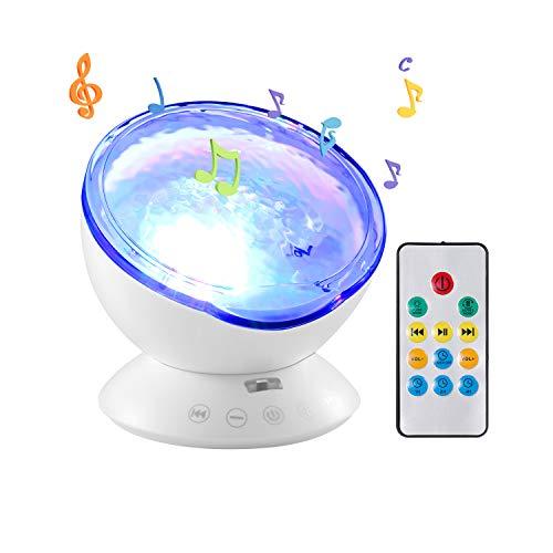 onshopping Ozeanwelle Projektor LED Nachtlicht Lampe mit Fernbedienung Romantische Dekoration Licht für Baby Kinder Schlafzimmer Wohnzimmer Party Kindergeburtstag Geschenk (Weiß) ()