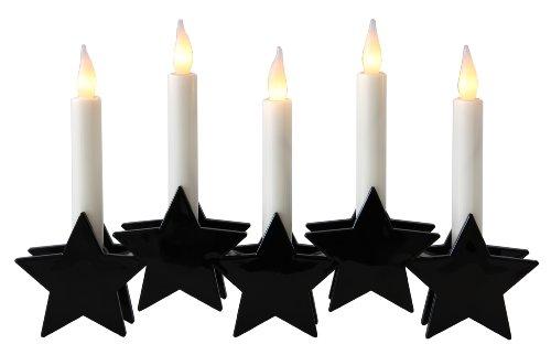Best Season 723-56 - Velas de LED con soporte de estrella (5 unidades, tamaño: 17 x 27 cm, plástico, funciona a pilas), color negro