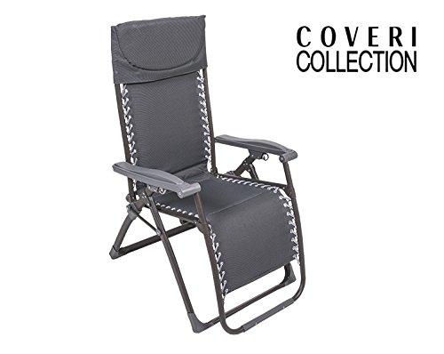 Enrico coveri sedia sdraio grigio reclinabile modello confort struttura in acciaio e tessuto poliestere per casa, giardino ed esterno
