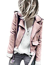 Perfecto en Suédine Rose Femm Petite,Overdose Solde Hiver Veste Daim Manteau  Courte Casual Jacket 92d01cbdf4b