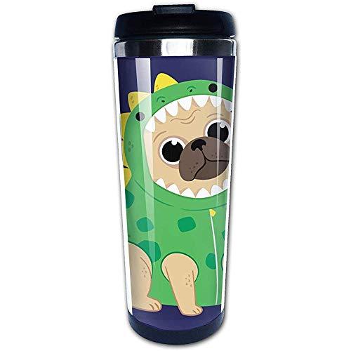 Tee Kostüm Cup - Cartoon-Welpe in einem grünen Dinosaurier-Kostüm Isolierte Edelstahl-Reise- und Campingbecher für Kaffee und Tee mit spritzwassergeschütztem Deckel