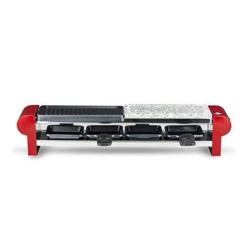 H.Koenig RP 4 Raclette 2 Personas 3 en 1, Plancha con Piedra Natural, Grill, 600 W, Rojo, Gris RP4, Acero Inoxidable