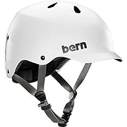 Bern Watts Thin Shell EPS Casque vélo Urbain Homme Satin Blanc, XXL/XXXL