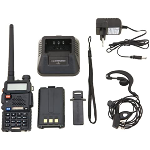 Baofeng UV-5R Talkie walkie / Walkie-talkie Interphone ricetrasmettitore Two Way FM radio VHF / UHF Dual -Band 136-174/400-480 MHz + Cuffie