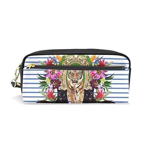 Ahomy Tigers Panthers and Flowers Federmäppchen für Mädchen und Jungen, Stiftebeutel Schreibwaren Make-up-Tasche Geldbörse Große Kapazität Wasserdicht für Frauen