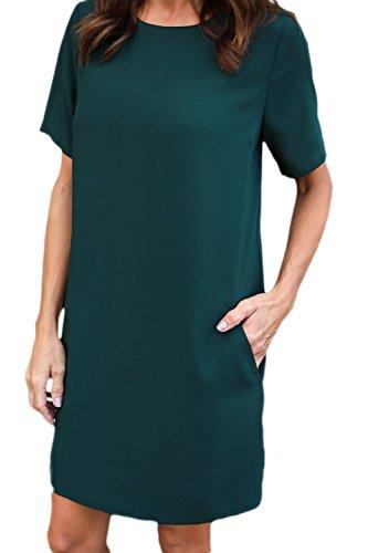Le Maniche Corte Attorno Al Collo Una Semplice Spostamento Vestito Con Tasca Green