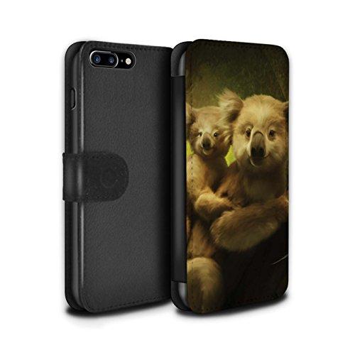 Offiziell Elena Dudina PU-Leder Hülle/Case/Tasche/Cover für Apple iPhone 8 Plus / Kleopatra/Golden Schlange Muster / Die Tiere Kollektion Koalas/Auf Bäume Klettern