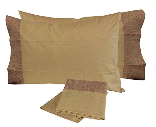 Completo letto matrimoniale lenzuola cotone zucchi due 2 piazze sopra + sotto + 2 federe (ava - beige)