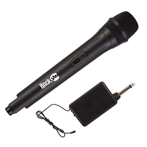 RockJam RJWM33-BK High-Fidelity kabelloses Mikrofon für Karaoke und professionelle Verwendung schwarz