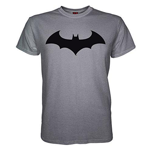 King of Merch - Herren Bio T-Shirt - Batman Logo Dark Night Gotham City The Joker Harley Quinn Arkam Superheld Asylum Lex Luthor Riddler Batarang Venom Poison Ivy Wayne Enterprises Grau XL