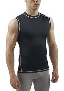 Sub Sports Dual Men's Compression Baselayer Sleeveless Top - Black, Small