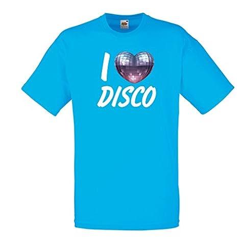 T-shirt pour hommes I Love Disco - vêtements de musique rétro (Small Bleu Multicolore)