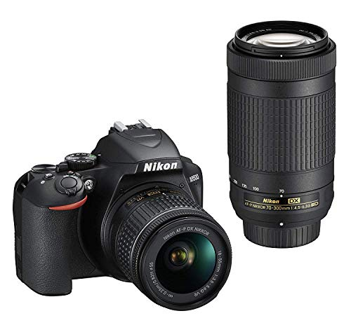 Nikon D3500 DX-Format DSLR Two Lens Kit with AF-P DX Nikkor 18-55mm f/3.5-5.6G VR & AF-P DX Nikkor 70-300mm f/4.5-6.3G ED VR (Black) with 16 GB SD Card and Case