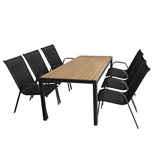 7tlg. Gartengarnitur Aluminium Polywood Gartentisch Teak-Optik 205x90cm + Stapelstuhl Schwarz mit Textilenbespannung Sitzgruppe Sitzgarnitur Terrassenmöbel