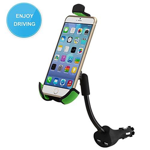 Preisvergleich Produktbild Auto Ladegerät mit Halterung,  5 V 2.1 A USB Dual-Port Auto Ladegerät Adapter KFZ Halterung für alle 8, 9–16 cm Mobiltelefone,  MP3- / MP4