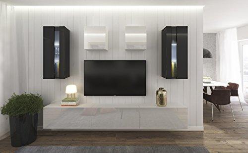 Home Direct Smile N291, Modernes Wohnzimmer, Wohnwände, Wohnschränke, Schrankwand (Schwarz und Weiß Matt Base/Schwarz und Weiß HG Front (HG25), LED weiß)