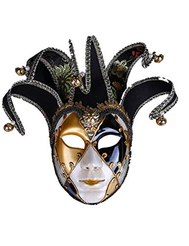 Kostüm Weiblich Assistenten - TUTOU Halloween Ball, Erwachsenen Kostüm Party Cosplay Damen gehobene venezianische Maske Scary Clown Demon Cosplay Item,Schwarz