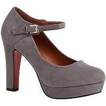 72a0eef0b4def9 high heels mit schnürung. Stiefelparadies Damen Pumps Mary Janes mit  Blockabsatz Plateau Vorne Flandell