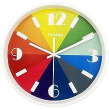 Foxtop reloj de pared para niños Rainbow, reloj de pared anti-tic táctil colour moderno con gráfico aleatorio árabe, 26 cm