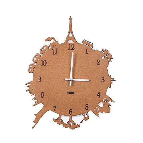 LOTOS Horloge - 14 Pouces en Bois Silent Famille créativité Grande Tour Horloge (Noir, Brun), Brown