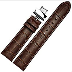 BOS 24mm Real Leather Replacement Strap Wrist Band Watchband with Staineless Steel Butterfly clasp