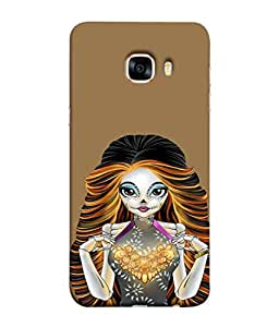 PrintVisa Designer Back Case Cover for Samsung Galaxy C7(2017) (Unique Girl Beautiful Girl Stunning Pretty Lovely)