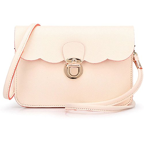 Sannysis Damen PU-Leder Schultertasche Clutch Handtasche Tote (beige) (Side Tote Pocket)