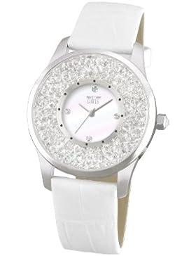 Davis 1781 - Damen Strass Uhr Kristall Swarovski Ziffernblatt Weiß Armband Leder Weiß