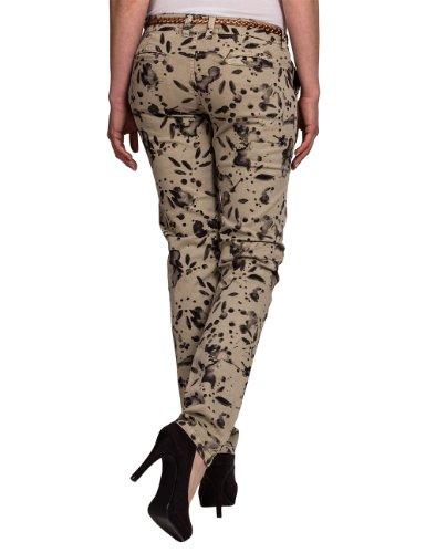 Timezone Damen Hose 16-0119 New MillaTZ chino pants incl. Belt Skinny / Slim Fit (Röhre) Normaler Bund Beige (bronze splash 8171)